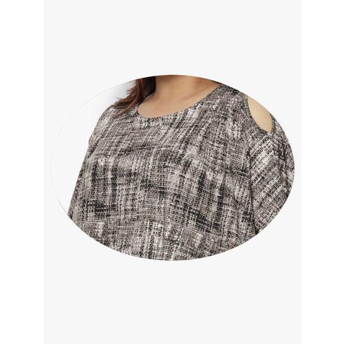 aLL Women Grey & Black Printed Regular Top