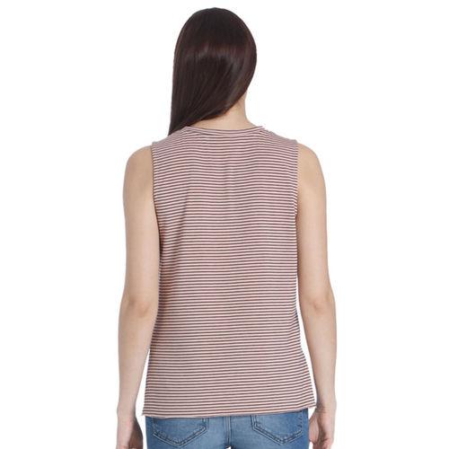 Vero Moda Women Rose Pink & Black Striped Top