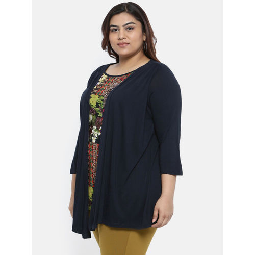 aLL Women Navy Blue Printed Layered Top