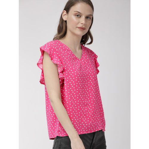 Denizen From Levis Women Pink & Blue Printed Top With Flutter Sleeves