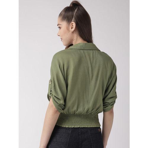 20Dresses Women Olive Green Solid Blouson Crop Top