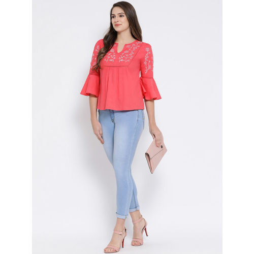 Oxolloxo Women Coral Embroidered A-Line Top