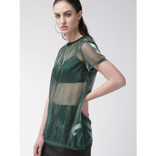 FOREVER 21 Women Green Solid Sheer Top