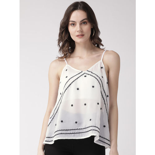 SCOUP Women White & Black Sheer Embroidered A-Line Top