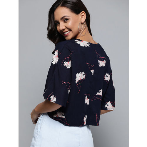 Mast & Harbour Women Navy Blue & White Printed Boxy Top