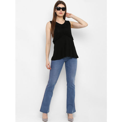 FOSH Women Black Solid A-Line Top
