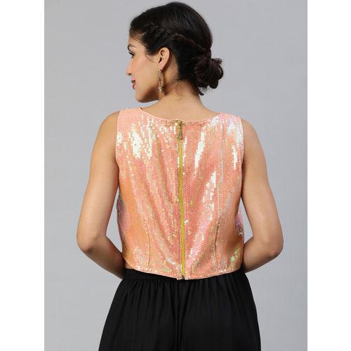 Inddus Women Peach-Coloured Self Design Sequined Top