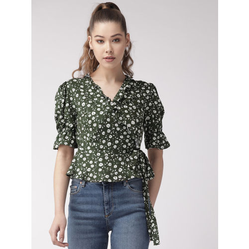 20Dresses Women Olive Green & White Printed Wrap Top