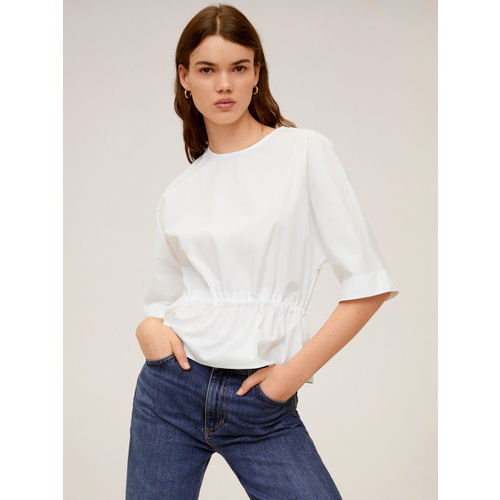 MANGO Women White Solid Cinched Waist Top