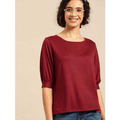DressBerry Women Maroon Solid Top
