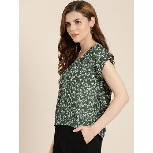her by invictus Women Olive Green & White Printed Regular Top