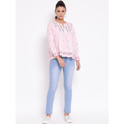 Oxolloxo Women Pink Embroidered A-Line Top