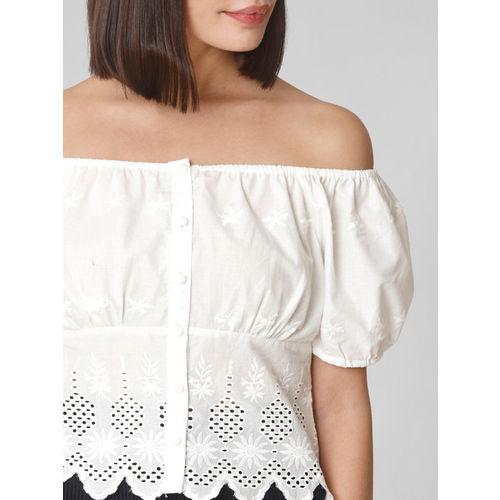 Vero Moda Women White Embroidered Bardot Top