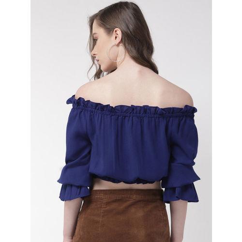 QUIERO Women Blue Solid Cropped Bardot Top