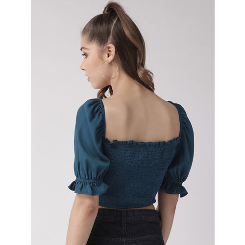 20Dresses Women Teal Blue Solid Fitted Crop Top