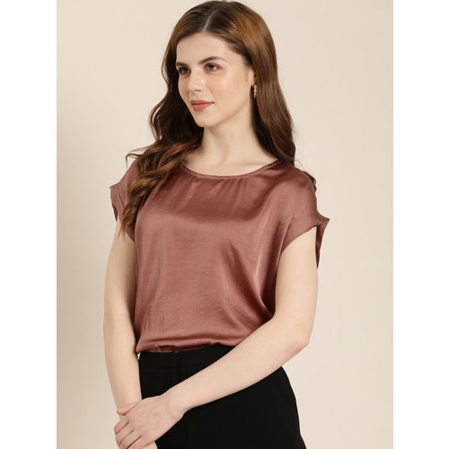 her by invictus Women Copper-Toned Solid Regular Top