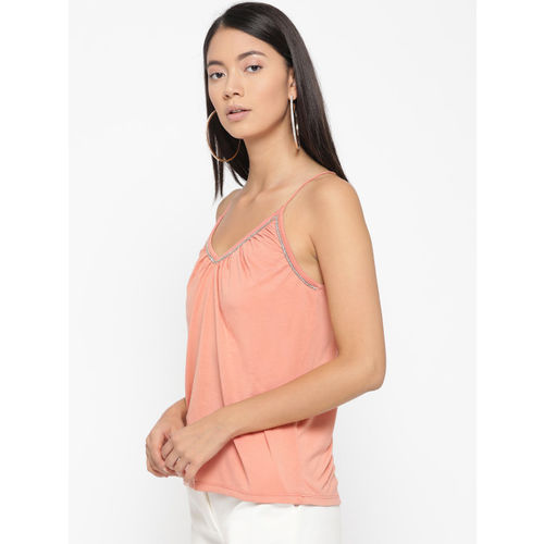 ONLY Women Peach-Coloured Solid Top