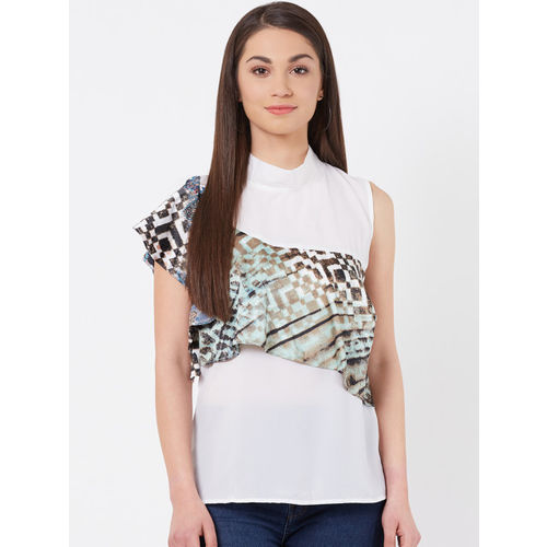 Instacrush Women White Solid Layered Top