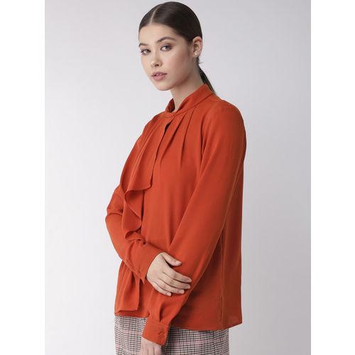 20Dresses Women Rust Orange Layered Solid Formal Top