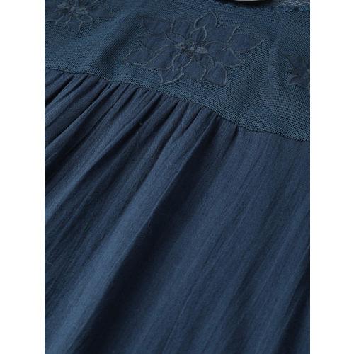 SCOUP Women Navy Blue Solid Regular Top