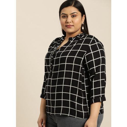 Sztori Women Black & White Checked Shirt Style Top