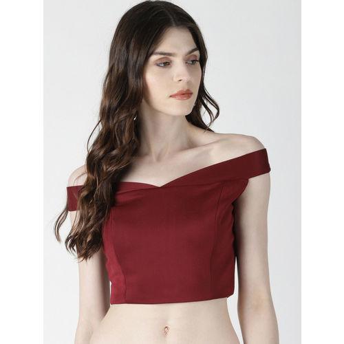 AARA Women Maroon Solid Crop Bardot Top