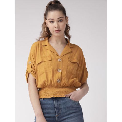 20Dresses Women Mustard Yellow Solid Blouson Top