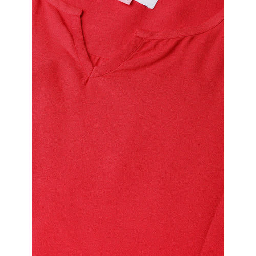 The Pink Moon Women Red Solid High-Low Top