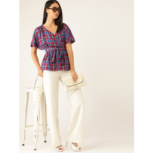 United Colors of Benetton Women Blue & Red Checked Wrap Top with Belt
