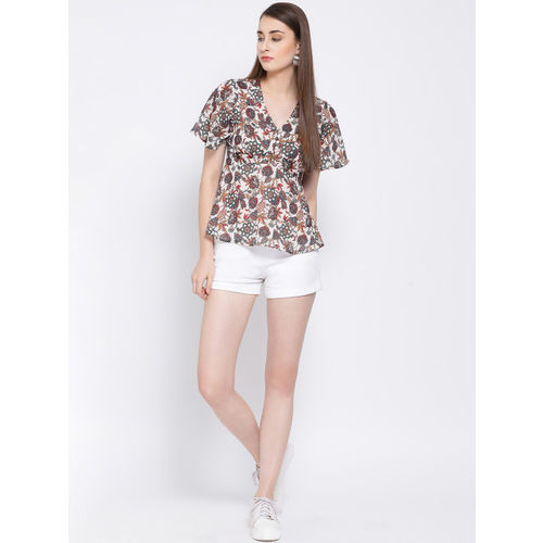 Oxolloxo Women White And Grey Printed Empire Top