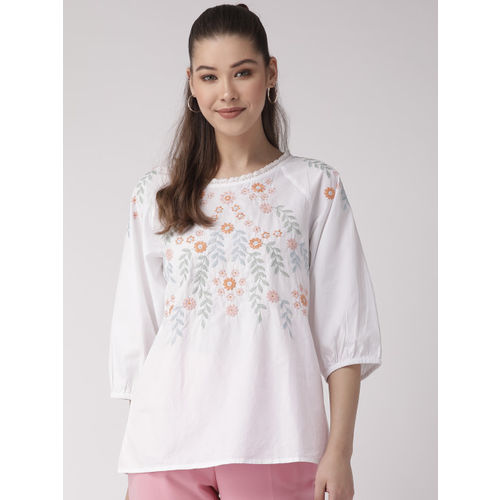 SCOUP Women White & Orange Embroidered Top