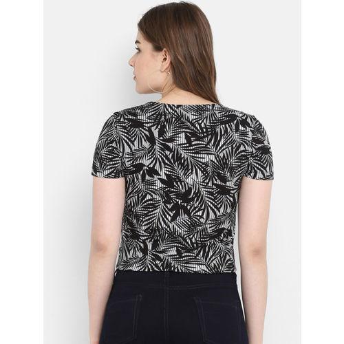 FOSH Women Black & White Printed Top