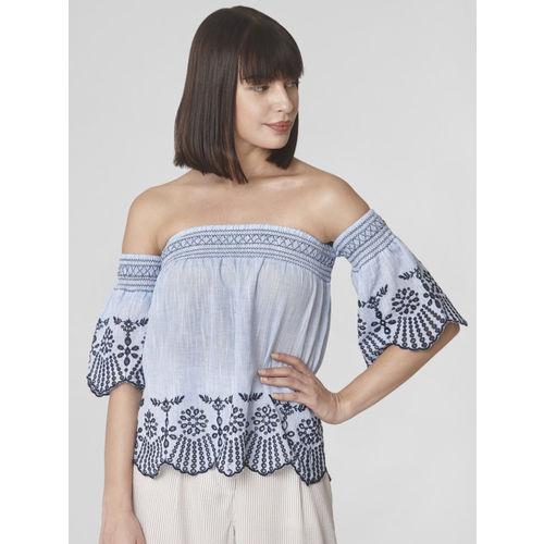 Vero Moda Women Blue Embroidered Bardot Top