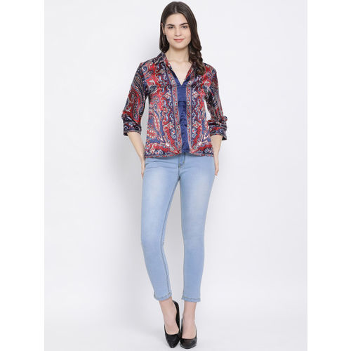 Oxolloxo Women Navy Blue And Red Printed Shirt Style Top