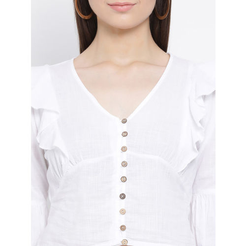 Oxolloxo Women White Solid Empire Top