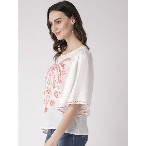 SCOUP Women White & Coral Pink Embroidered Top