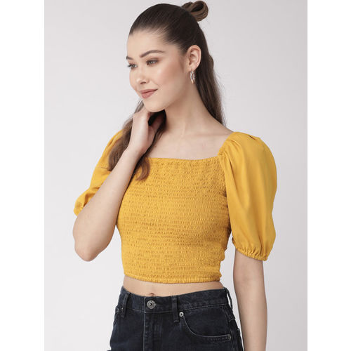20Dresses Women Mustard Yellow Solid Fitted Crop Top