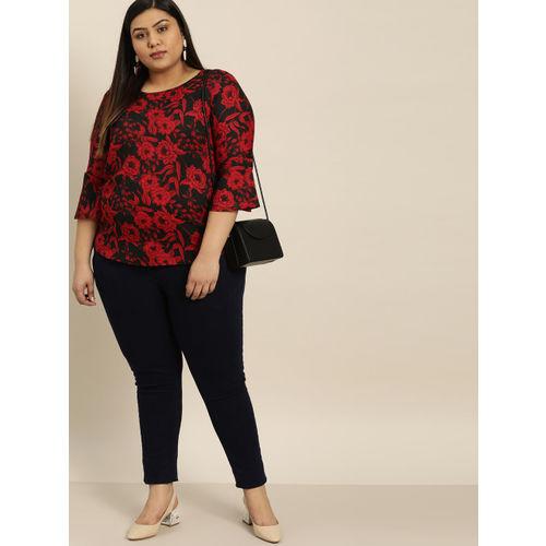 Sztori Women Black & Red Floral Printed Top