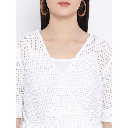 Oxolloxo Women White Self Design Peplum Top