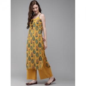 Anouk Women Mustard Yellow & Green Printed Straight Kurta