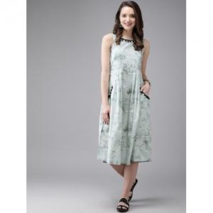 Anouk Women Sea Green & Off-White Printed Fusion A-Line Kurta