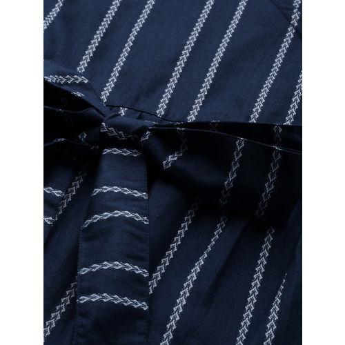 Taavi Women Navy Blue & White Woven Legacy Striped Wrap Top