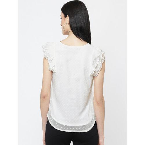DODO & MOA Women White Self Design Top