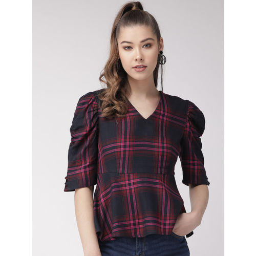 20Dresses Women Navy Blue & Pink Checked A-Line Top