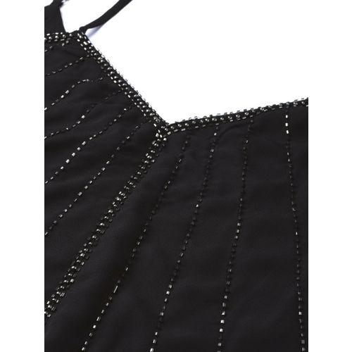 VividArtsy Women Black Embellished A-Line Top