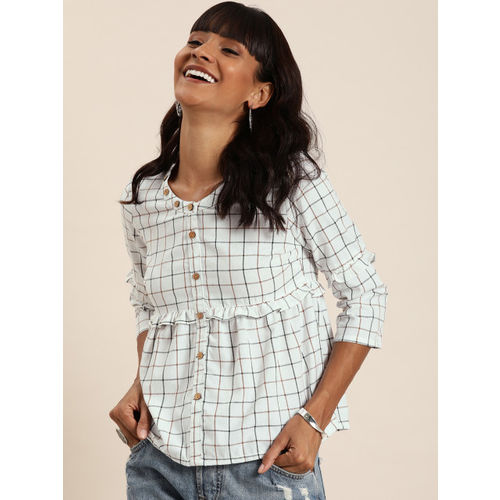Taavi Women White & Brown Woven Legacy Checked A-Line Top with Ruffle Detailing