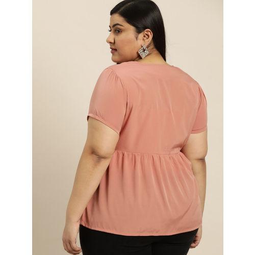 Sztori Women Dusty Pink Solid A-Line Top