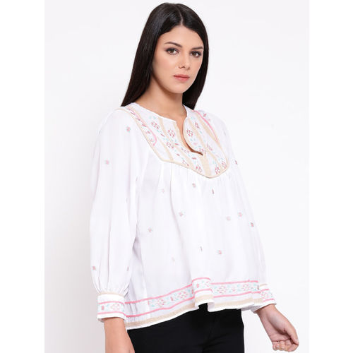 Oxolloxo Women White Printed A-Line Top