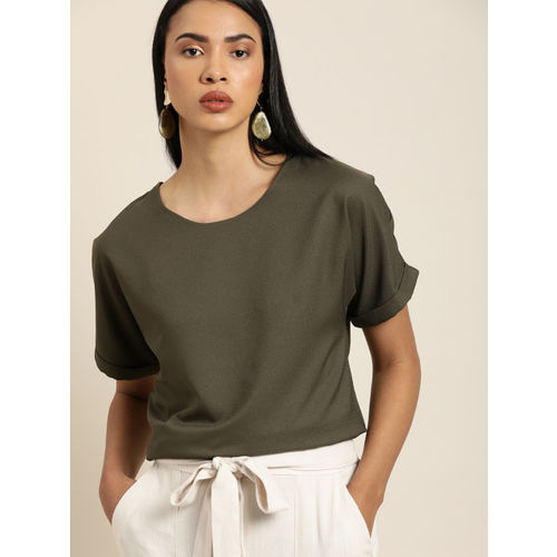 her by invictus Women Olive Green Solid Top