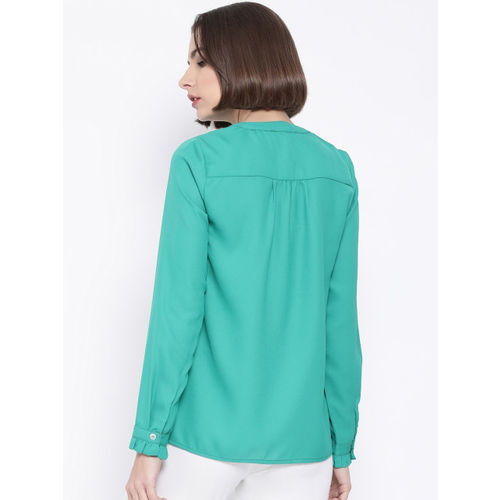 Oxolloxo Women Green Solid Shirt Style Top